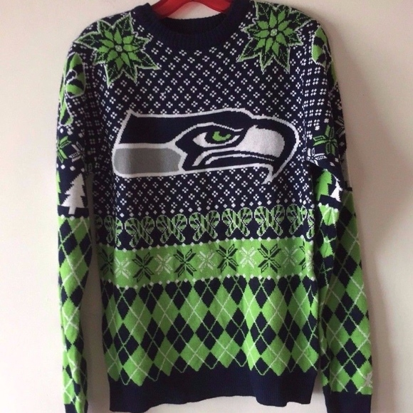 seattle seahawks ugly christmas sweater mens small - Seahawks Christmas Sweater
